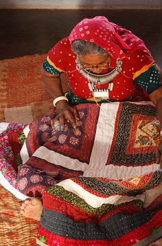 I would love to sit down with such talented ladies and spend the whole day quilting with them - Kantha