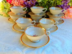 9 Beautiful Vintage Lenox Porcelain Cups & Saucers ~ Nydia ~ Gold ~ Floral #Lenox