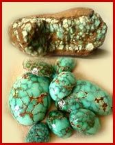 No. 8 produced some of the largest nuggets of turquoise found. A spider web matrix of colors ranging from golden brown to black set off the unique bright powder blue background of the stone.