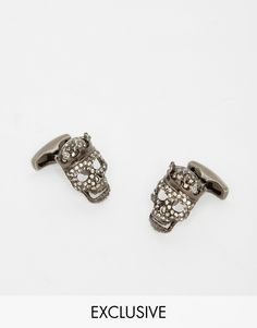Cufflinks by Simon Carter Silver-tone finish Skull design Crystal inlay T-bar fastening 100% Brass Exclusive to ASOS