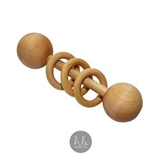 Organic Wood Montessori Styled Baby Rattle by Homi Baby - Perfect Grasping Teething Toy for Toddlers - Handmade in The USA - Sealed with Organic Virgin Coconut Oil (Natural) Wooden Toys For Toddlers, Wooden Baby Toys, Toddler Toys, Montessori Baby Toys, Toys For 1 Year Old, Teething Toys, Teething Babies, Baby Rattle, Baby Makes
