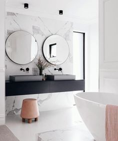 bathroom | marble wall | vessel sinks Tap the link now to see where the world's leading interior designers purchase their beautifully crafted, hand picked kitchen, bath and bar and prep faucets to outfit their unique designs.