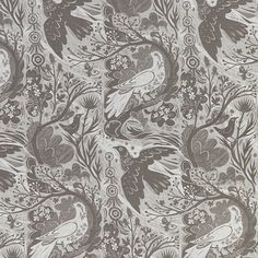 Doveflight is a screen-printed fabric designed by Mark Hearld for St. Jude's. -- silver/grey -- £48.00/metre