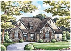 French Country House Plan with 2255 Square Feet and 2 Bedrooms from Dream Home Source | House Plan Code DHSW50516