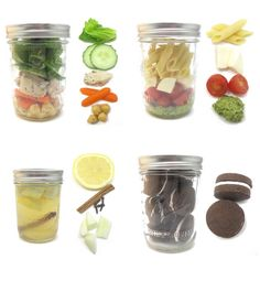 Mason jar meals for a fun picnic. love mason jars for everything Mason Jars, Mason Jar Meals, Meals In A Jar, Good Food, Yummy Food, Salad In A Jar, Le Diner, Dog Food Recipes, Picnic Recipes