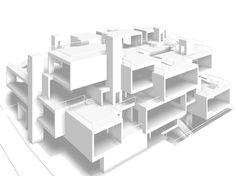 Cubic Architecture, Social Housing Architecture, Office Building Architecture, Concept Architecture, Residential Building Design, Residential Complex, Geometric Shapes Art, Diagram Design, Container Architecture