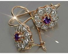 Alexandrite Jewelry, Gold Earrings Designs, Silver Roses, Antique Rings, Retro, Beautiful Earrings, Etsy Earrings, Natural Gemstones, Dangles
