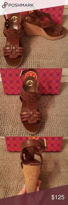 Tory Burch Leslie cork wedges EUC. Wore maybe 3 times. No in the cork. Tory Burch Shoes