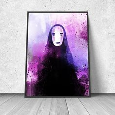 Spirited Away inspired, No-Face, Kaonashi, watercolor illustration, giclee art print, anime print, wall decor