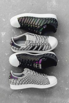 "adidas Originals Superstar ""XENO"" Pack  A primitive, iridescent snake species inspires the latest rendition of the Superstar."