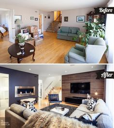 before and after of a traditional living room - love the banister
