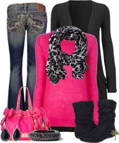 I like the pop of color and the SMALL amount of animal print Hot Pink Shirt Outfit, Hot Pink Sweater, Pink Leopard, Pink Camo, Leopard Scarf, Snow Leopard, Bright Winter Outfits, Casual Winter, Cozy Winter