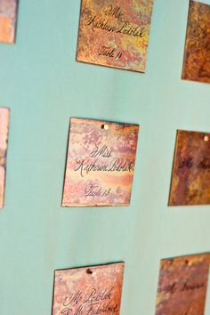 copper escort cards|calder clark designs|heather forsythe photography