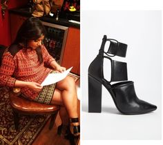 Mindy Kaling posted this photo to Instagram just before appearing on Late Night with Jimmy Fallon giving us a good look at her shoes! /// Alexander Wang 'Mackenzie' Booties - $406 (35% off)