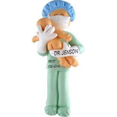 Obstetrician Ornament, Midwife or New Father Personalized Ornament. This ornament and many more can be found at www.ornaments.com
