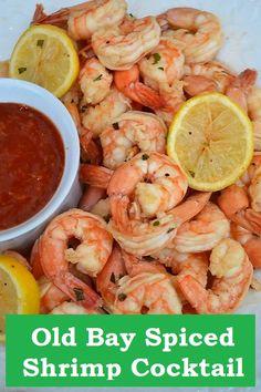 Old Bay Shrimp - The Easiest Spiced Shrimp Cocktail Recipe! Shrimp Appetizers, Great Appetizers, Appetizer Recipes, Dinner Recipes, Shrimp Dishes, Kitchen Recipes, Cooking Recipes, Meal Recipes, Yummy Recipes