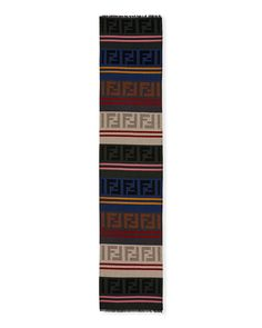 ccdb5d2ac47f Fendi Macro FF Colorblock Wool-Blend Scarf