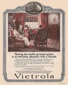 Victor Victrola advertisement, 1912.  Artwork created by Norman Mills, born in Brampton, Ontario (1877)