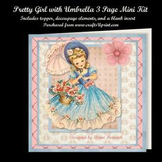 Pretty Girl with Umbrella Layered Card Kit on Craftsuprint designed by Diane Hannah - Pretty Girl with Umbrella 3 page mini kit. The kit contains the topper, decoupage elements, and a matching insert. - Now available for download!