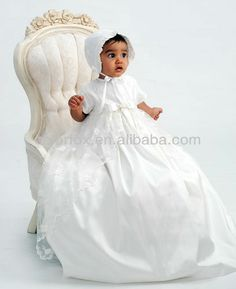 beautiful dresses and bonnets for infants   ... Silky Infant Girls Baby Christening Gowns/Dresses with Matching Bonnet