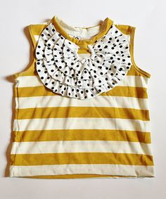 Look at this ApPEARel TREE Mustard & Gray Polka Dot Ruffle Tank - Infant, Toddler & Girls on #zulily today!