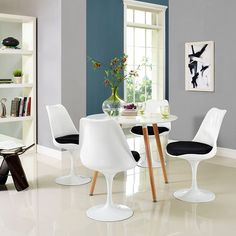 Lippa Dining Side Chair Fabric Set of 4 in Black