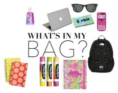 """""""What's in my school bag"""" by mackenzylynnvancil on Polyvore featuring The North Face, Casio, Lilly Pulitzer, Valentine Goods, Chapstick, Ray-Ban and inmybag"""