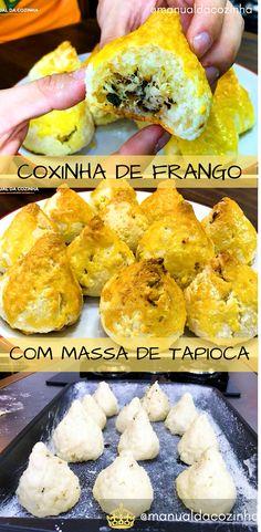 Receita de Coxinha de Frango com Massa de Tapioca, delicioso, super leve e sem glúten! Faça esse salgado para vender! #receita #coxinha #frango #salgado #semgluten #aguanaboca #manualdacozinha