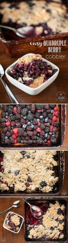 This Easy Quadruple Berry Cobbler with blueberries, blackberries, boysenberries, and blueberries is the perfect summer time dessert that everyone will love.