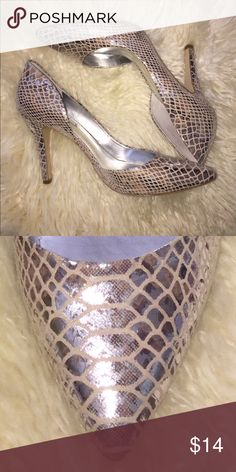 Silver snakeskin shoes Worn a couple times. Silky soft material to the touch BCBGeneration Shoes Heels