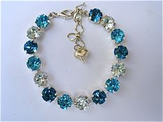 Light Teal  Swarovski Crystal Tennis Bracelet
