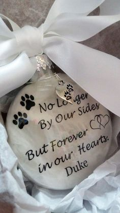 Pet Memorial Ornament In Memory of Dog Loss of Cat Remebrance Sympathy Gift No Longer By Our Sides Forever in Our Hearts w/Pawprint Charm memorials ideas Your place to buy and sell all things handmade Memorial Ornaments, Dog Ornaments, Christmas Ornaments, Xmas Baubles, Ornament Tree, Pet Memorial Gifts, Dog Memorial, Memorial Ideas, Memorial Stones