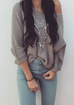 .Jeans, gray sweater