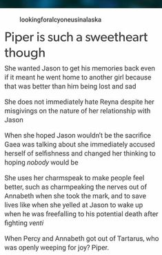Piper McLean deserves better than what the fandom gives her Percy Jackson Quotes, Percy Jackson Books, Percy Jackson Fandom, Rick Riordan Series, Rick Riordan Books, Solangelo, Percabeth, Piper Mclean, Jason Grace
