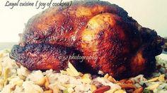 الدجاج المحشي بالأرز والمشوي بالفرن