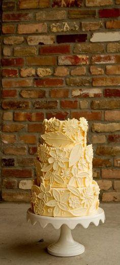 Floral Wedding Cake Backyard Summer Wedding Ivory Wedding Cake