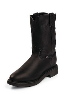 9feee19ccaf Justin Boots 4763 - Justin Men s Black Pitstop 10 Inch Pull-On Work Boot  Style