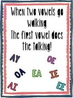 Anchor Chart with Catchy saying for your students! There are also colorful task cards with all vowel combinations shown.