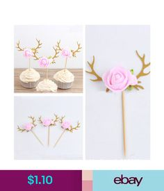 Party Supplies 1Pc Flower Antler Cupcake Picks Cakes Toppers Decor Kids Birthday Party Favors #ebay #Home & Garden