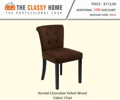 Kendal Chocolate Velvet Wood Fabric Chair