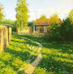 Chickens On The Grass ~ Dimitriy Lyovin ~ Дмитрий Лёвин - художник русского пейзажа