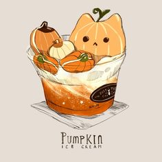 Some pumpkin themed drinks only at the Suit & Tie Cat Cafe! Some pumpkin themed drinks only at the Suit & Tie Cat Cafe! Cute Food Drawings, Cute Kawaii Drawings, Cute Animal Drawings, Chibi Kawaii, Kawaii Cat, Kawaii Girl, Chat Halloween, Cute Food Art, Japon Illustration
