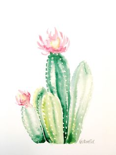 Your place to buy and sell all things handmade – Cactus Watercolor Succulents, Watercolor Cactus, Watercolor And Ink, Cactus Rose, Cactus Art, Watercolor Painting Techniques, Watercolour Painting, Cactus Drawing, Guache