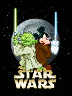 Yoda and Mickey Mouse- cause Disney bought star wars. Walt Disney, Disney Now, Disney Mickey, Disney Hall, Star Wars Film, Star Wars Poster, Mickey Mouse And Friends, Mickey Minnie Mouse, Disney Star Wars