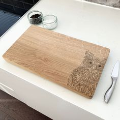 Wooden Owl Chopping Board by Urban Twist, the perfect gift for Explore more unique gifts in our curated marketplace. Wooden Owl, Wooden Elephant, Geometric Elephant, Elephant Design, Diy Chopping Boards, Chalk Pencil, Stag Head, Solid Oak, Wood Working