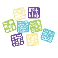 Stencil Art Set - Tsosie.mytupperware.com - Kids can get creative with their own homemade crafts, create cards for friends and family members, keep busy on road trips and more.  Set of eight stencils Includes upper and lowercase letters symbols numbers shapes flowers/plants travel birds fish other animals and holiday designs Dishwasher safe Limited Lifetime Warranty
