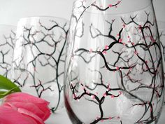 Spring Cherry Blossom Stemless Wine Glasses-Set of 2. Hand-Painted & dishwasher safe by Mary Elizabeth Arts