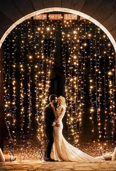 18 Whimsical Winter Wedding Arches and Backdrops - Oh Best Day Ever string lights wedding backdrop ideas. Night Wedding Photos, Night Time Wedding, Night Wedding Ceremony, Romantic Night Wedding, Romantic Wedding Colors, Starry Night Wedding, Wedding Ceremonies, Wedding Pictures, Wedding Goals