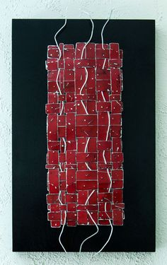 """Title: Zen Weave in Red. Abstract metal art by artist Paula Gibbs, Palm Springs, CA. Paint on metal mounted on wood panel, 16"""" x 26"""" x 2"""""""