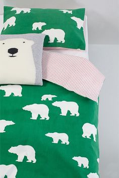 bear print on forest green cotton twill and diamond grid reverse - with matching bear pillow